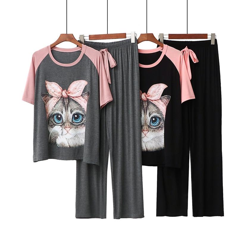 Kawaii Casual Cartoon Print Women's 2 Piece Set Modal Homewear Loose Cute Atoff Home Cloth Suit Female Pajamas Set Sleepwear