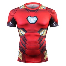 Spiderman Hero American Captain 3D Digital printing T-Shirt Male Super Hero Superman Fitness Compression T-Shirt printio american hero
