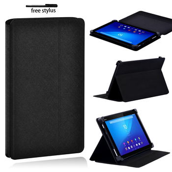 Black Tablet Case for Sony Xperia Z3 8 /Z4 10.1 Tablet Adjustable Folding Stand Anti-fall Protective Case Cover + Stylus image