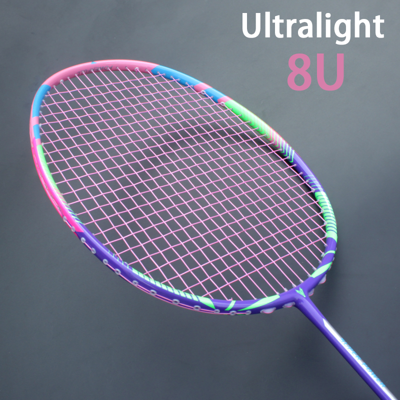 Super Light 8U 65±3g Full Carbon Fiber Badminton Rackets Strung Max 30LBS Racket Padel Racquet With Bags Strings Z Speed Force