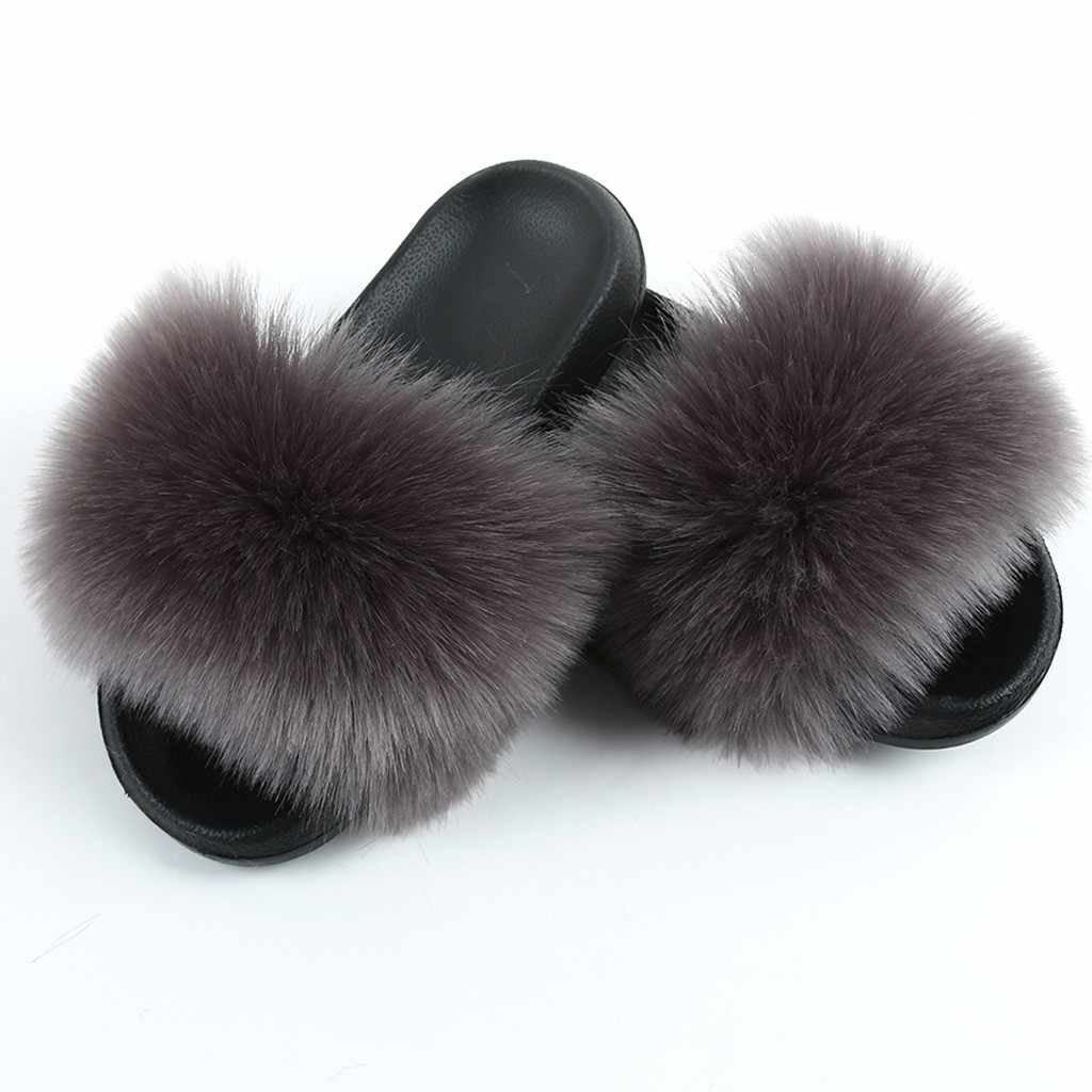 Fur Slippers Women Real Fox Fur Slides Home Furry Flat Sandals Female Cute Fluffy House Shoes Woman Brand Luxury 2020 shoes