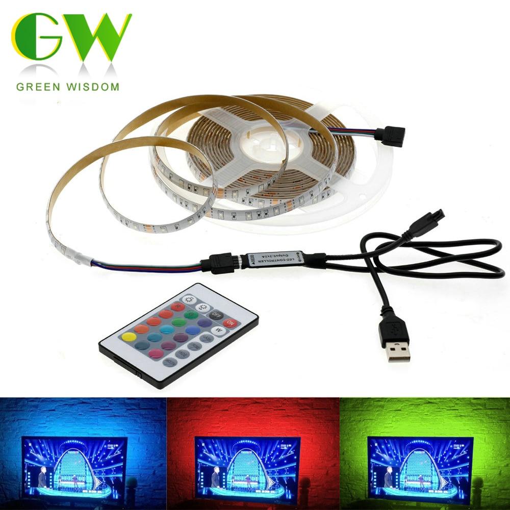 5V USB LED Strip Light SMD 2835 Flexible RGB Neon Ribbon 50CM 1M 2M 3M 4M 5M Fairy Lights for TV Background Lighting Decoracion