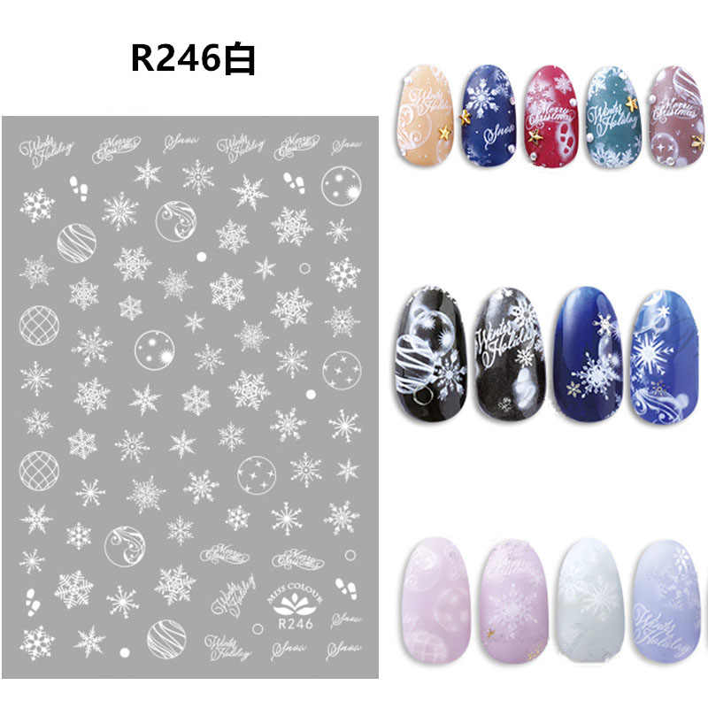 2020 Christmas Nail Stickers Gold Silver Winter Snowflake self-adhesive Decals for DIY nail Art Decoration New Year Xmas Gift