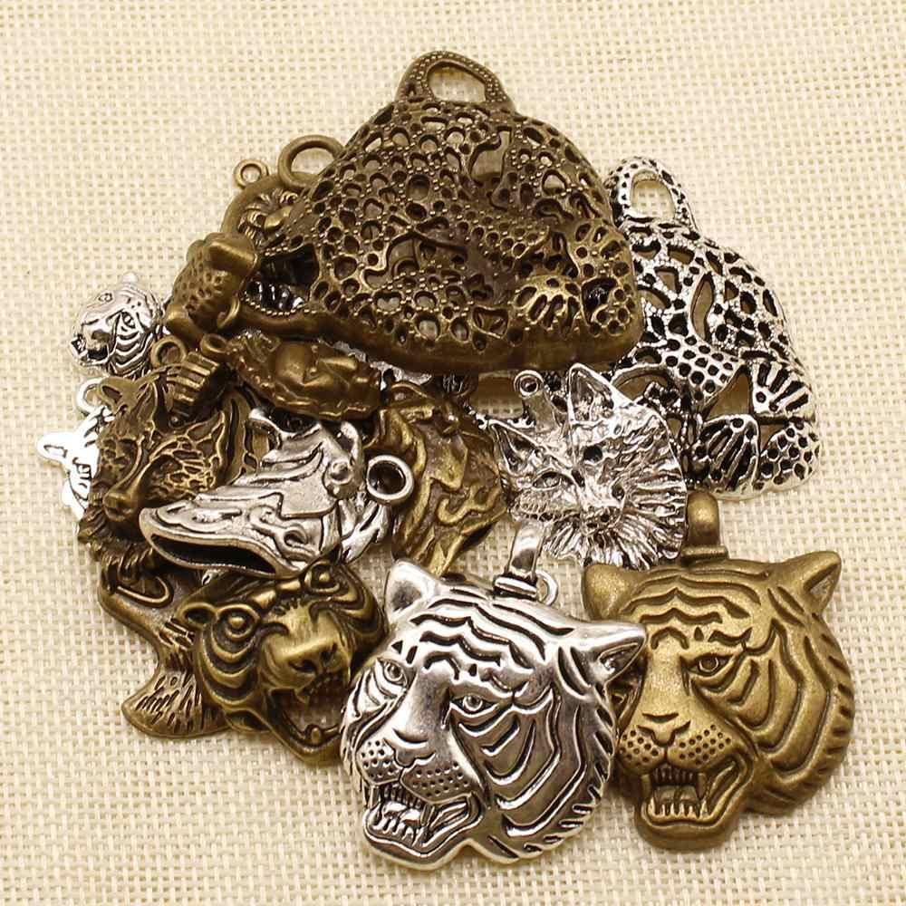 10 Pcs Logam Perunggu Perak Leopard Tiger Wolf Charms Liontin untuk Membuat Perhiasan Gelang Pesona Perlengkapan untuk Perhiasan Bahan