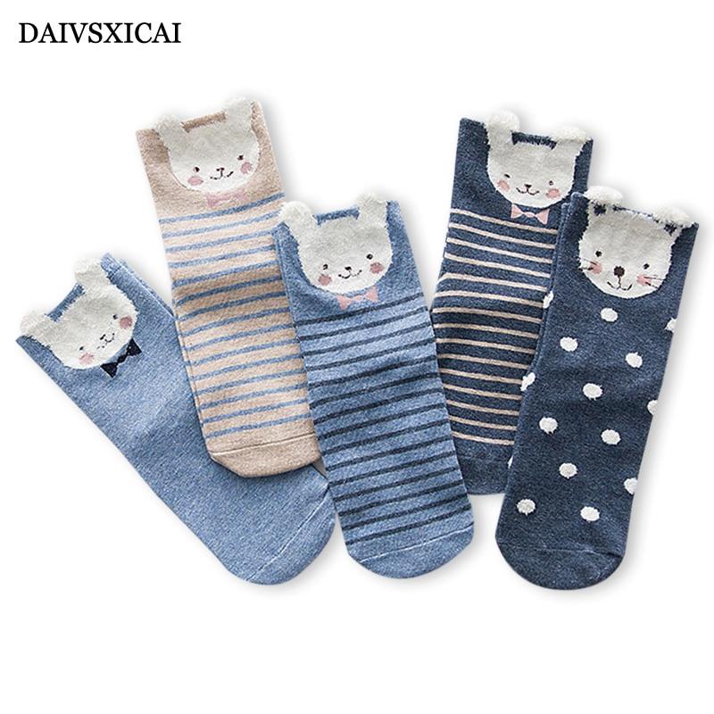 5Pairs/lot=10Pieces Autumn Winter Women's Socks Fashion Cartoon Animal Female Socks Casual Hair Ears Long Tube Socks Ladies
