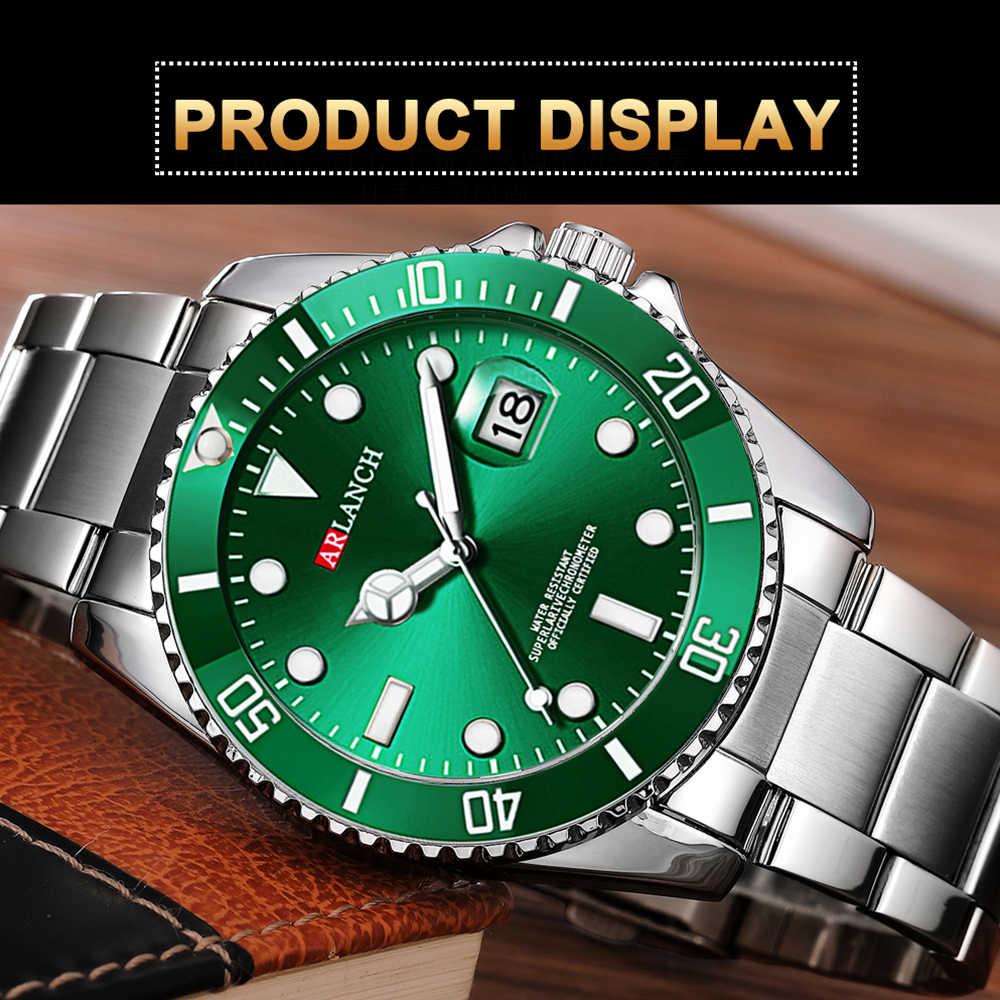 新ファッションメンズ腕時計ゴールドグリーン鋼クォーツ腕時計男性グリーン男性時計スポーツウォッチ男性 ARLANCH レロジオ masculino