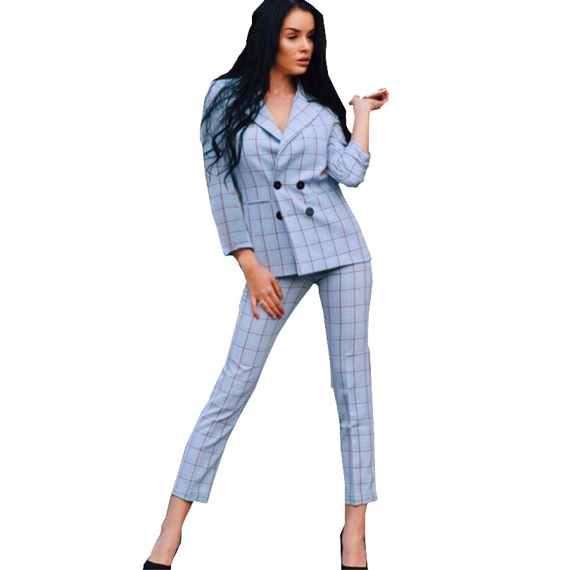 TAOVK Office Lady Plaid Work Pant Suits Notched Collar Blazers And  Pants Women Autumn Two Piece Suits