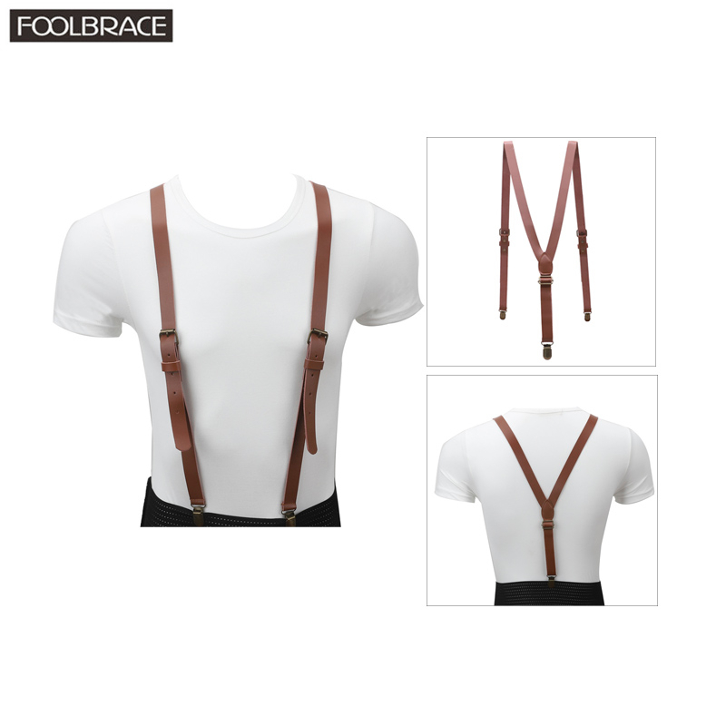 110*2cm Vintage Genuine Leather Suspender Mens/Women Adjustable Belt Bronze Brace Clips On Y-back Braces