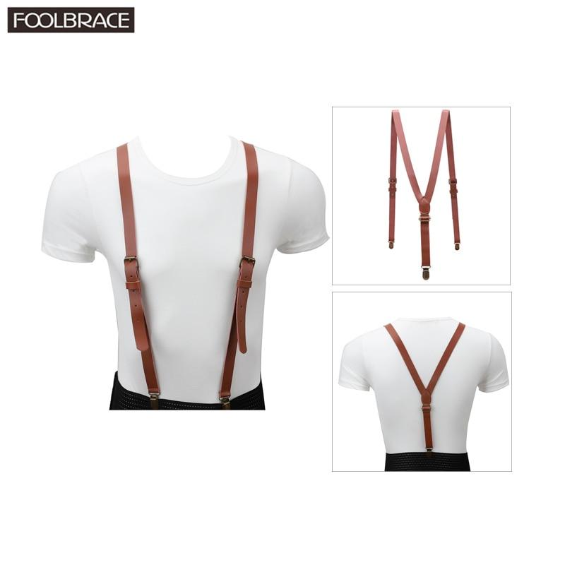 110*2cm Vintage Genuine Leather Suspender Mens/Women Adjustable Belt Bronze Brace Clips On Y-back Braces