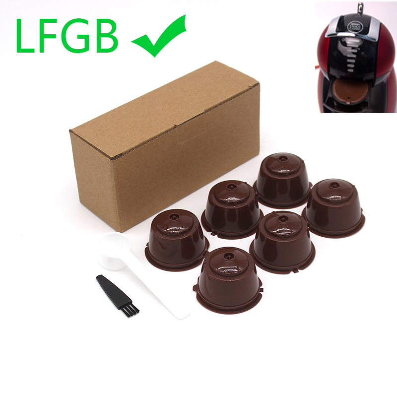 6 Pcs Reusable Coffee Capsule Filter Cup For Nescafe Dolce Gusto Refillable Caps Spoon Brush Filter Baskets Pod Soft Taste Sweet