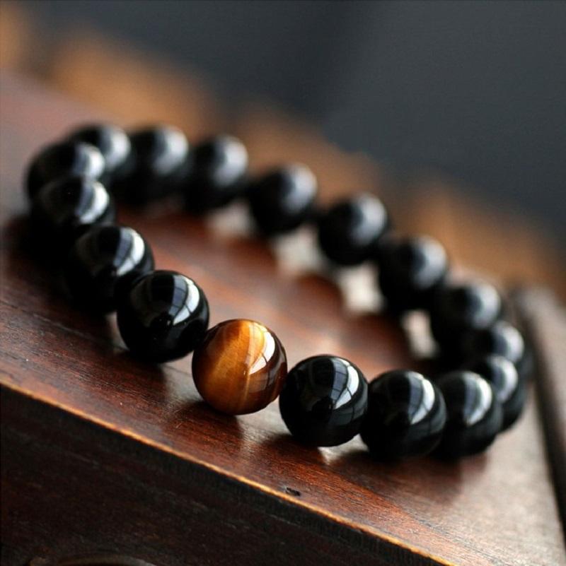Natural Black Onyx with Tiger eye Stone Beads Men Jewelry Bracelet 12 Constellation Leo Lovers Energy Balance Bracelet