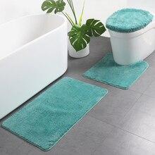 Anti-Slip Mat Carpet Toilet-Seat-Rug Bathroom-Mat Absorbent Microfiber U-Shaped 3-Piece