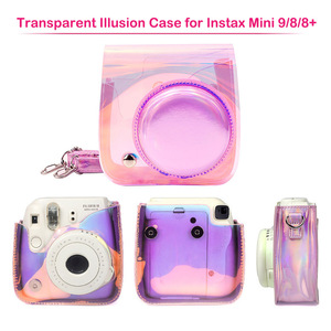 Image 2 - Dla Fujifilm Instax Mini 8/9 Film natychmiastowy futerał na aparat torba, PU skórzany pokrowiec z paskiem na ramię