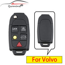 QWMEND for Volvo Key 5 Buttons Smart Car Key Shell For Volvo XC70 XC90 V50 V70 S60 S80 C30 Remote Flip Key Fob Case