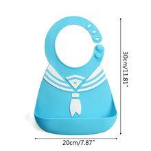 Waterproof Baby Silicone Bibs Navy Collar/Tie Infant Feeding Food Catcher Pocket XXFE