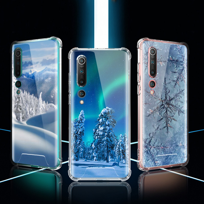 Landscape Winter Light Case For Xiaomi Mi Note 10 9 CC9 9T Pro 5G CC9E 8 A2 Lite X2 F1 Airbag Anti Fall TPU Phone Coque