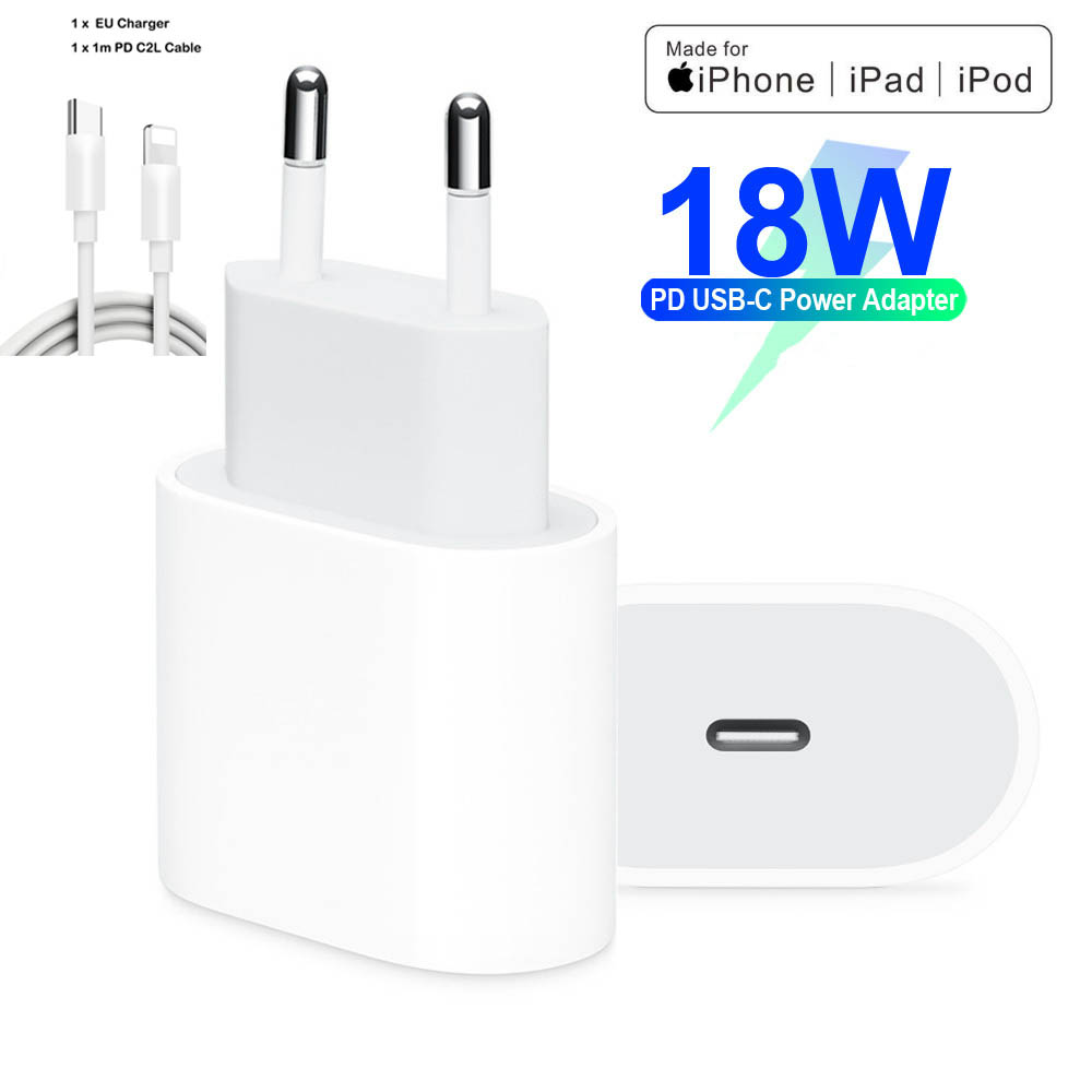 18W PD USB Type C Charger Adapter For IPhone 11 Pro Xr X Xs Max 8 Plus Fast Charging EU US Plug Travel Charger For Apple Devices