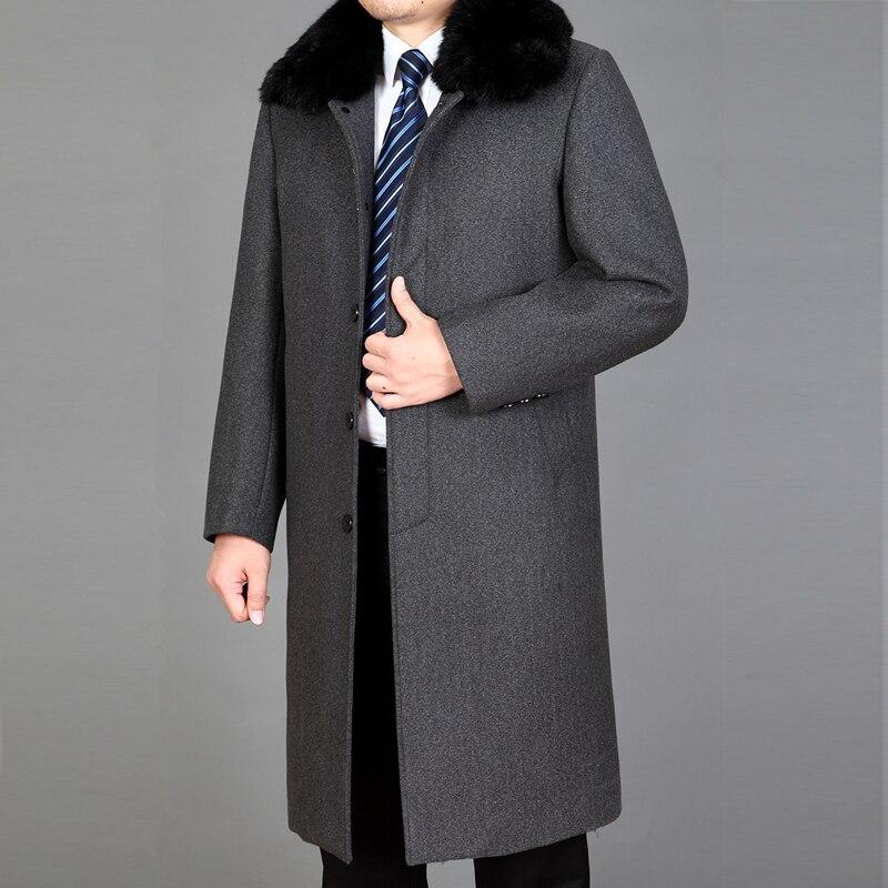 And Jackets 2020 Coats Rabbit Fur Man Brand-Clothing Long Men's Winter Jacket Woolen Overcoat Men Trench Coat WUJ1190