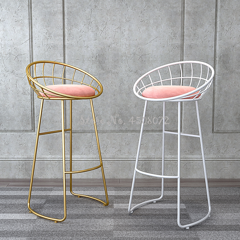 Mordern Golden Bar Chair Home High Stool Cafe Bar Chair Backrest Wrought Iron Nordic Bar Stool With Thicked Pink Fannal Pad