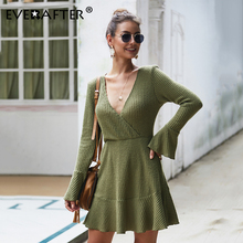 EVERAFTER Sexy V Neck Fit Knit Dress Casual Long Sleeve Patchwork Bodycon Solid Dresses Women Autumn Elegant Party Short