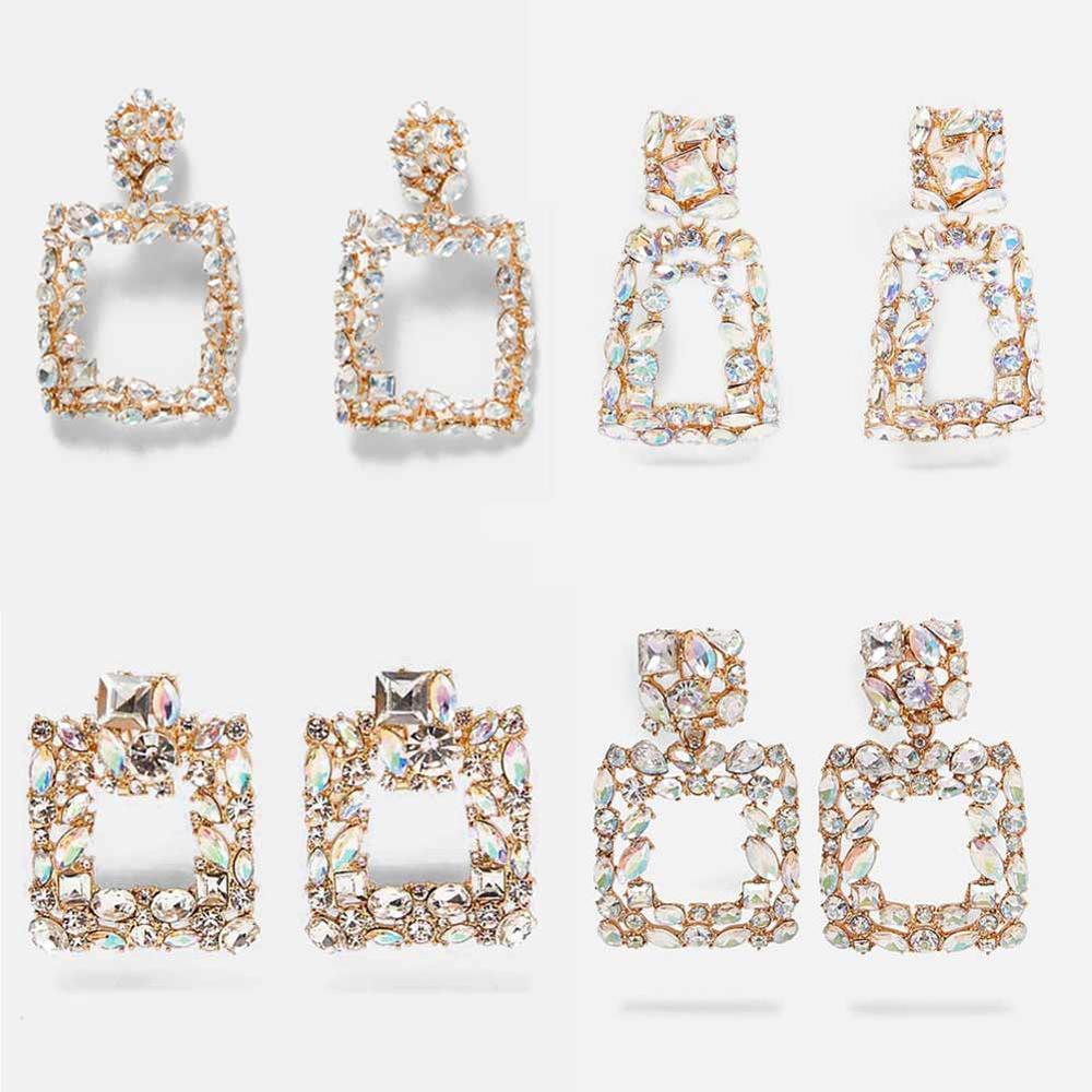 Girlgo Luxury Crystal Pendant Earrings Big Long Square Drop Earrings Women Fashion Party Wedding Bridal Jewelry Wholesale Gifts