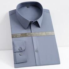 Men's Classic Long Sleeve Stretch Bamboo-fiber Easy-Care Dress Shirt Pocketless Design Standard-fit Business Work Office Shirts