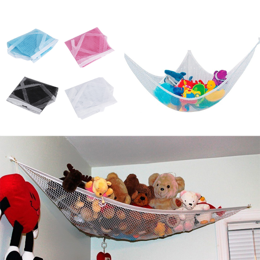 80*60*60cm Cute Children Room Toys Hammock Net Stuffed Animals Toys Hammock Net Organize Storage Holder 4 Colors