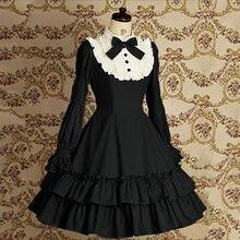 Robe en coton Vintage pour filles, Mini Costume Lolita classique, avec nœud papillon, à volants, couche de princesse, pour dames