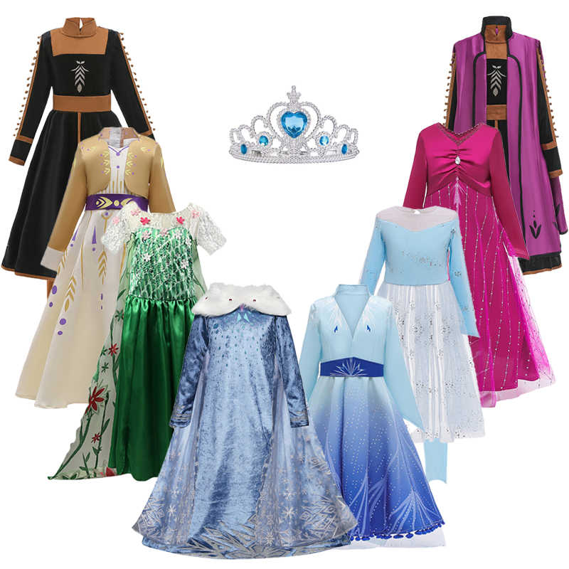 Girl Elsa Dress 2 For Girl Snow Queen Princess Dresses Elena For Girls Cosplay Anna Christmas Costume Party Girl Clothing Kids