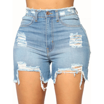 New Arrivals Casual Summer Denim Ladies Ripped Shorts Mid-waist Tassel Plus Size Short Jeans Women