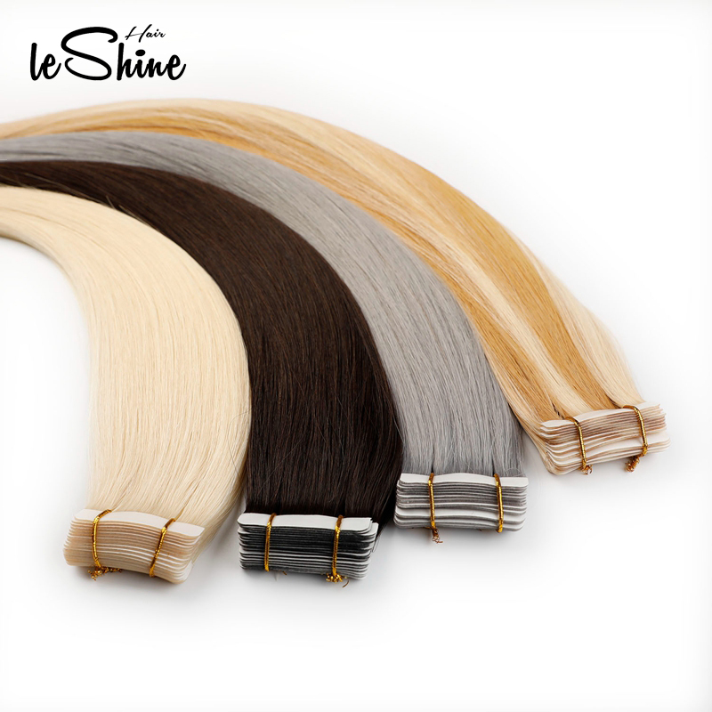 Leshine 100% Human Hair Platinum Blonde Bundles Virgin Tape Hair Extensions 14''18''20'' Hair Extensions Adhesive  40 PCS/Pack