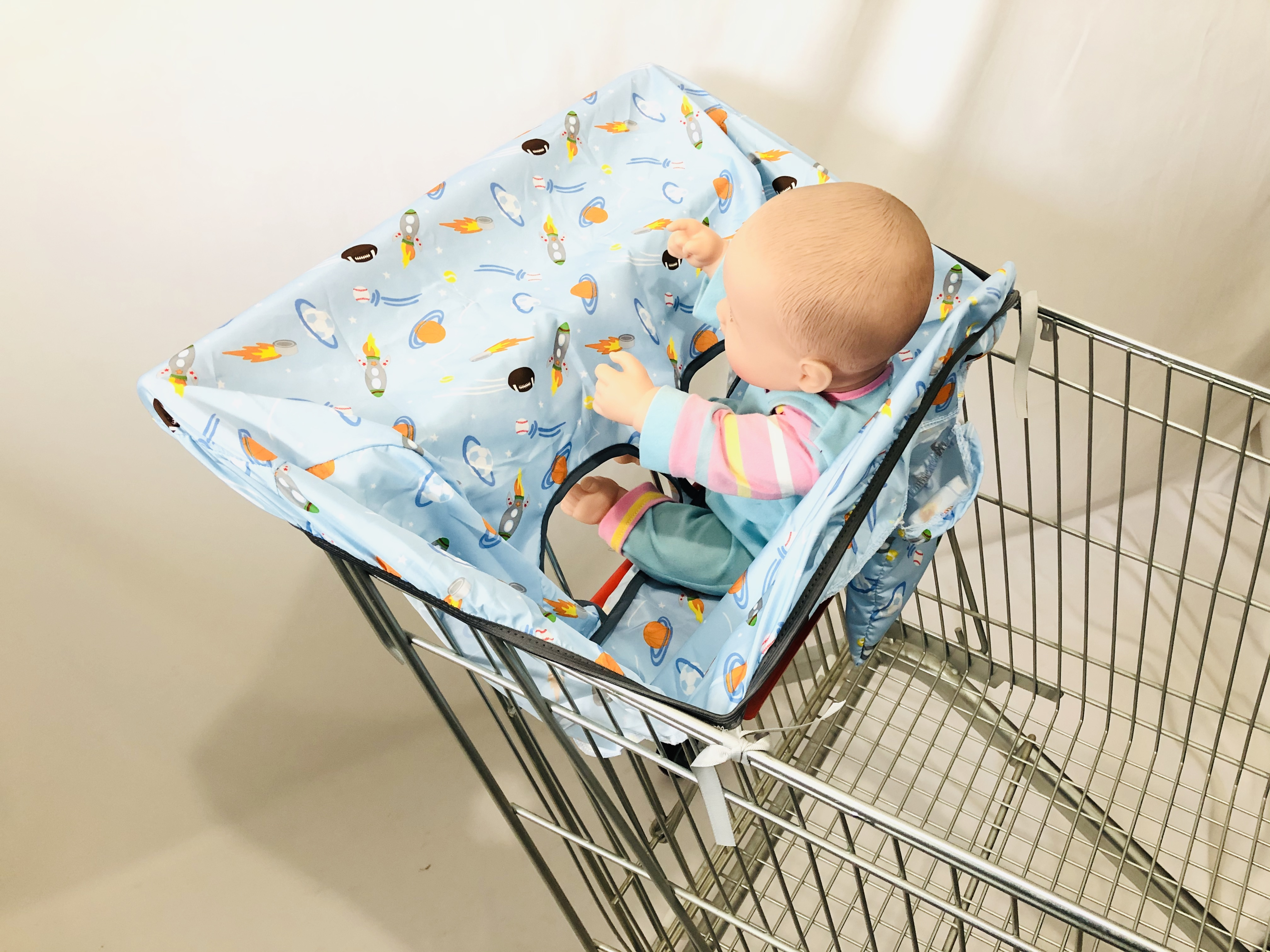 2in1 Trolley Cover/Highchair Cover for Baby Infant&Toddler/Kids cushion Mat for supermarket shopping cart/Grocery cart cover