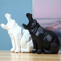 Modern Abstract Hippopotamus Statue Sculpture Geometric Art Statue Resin Furnishing Home New Year Decoration Accessories Gifts