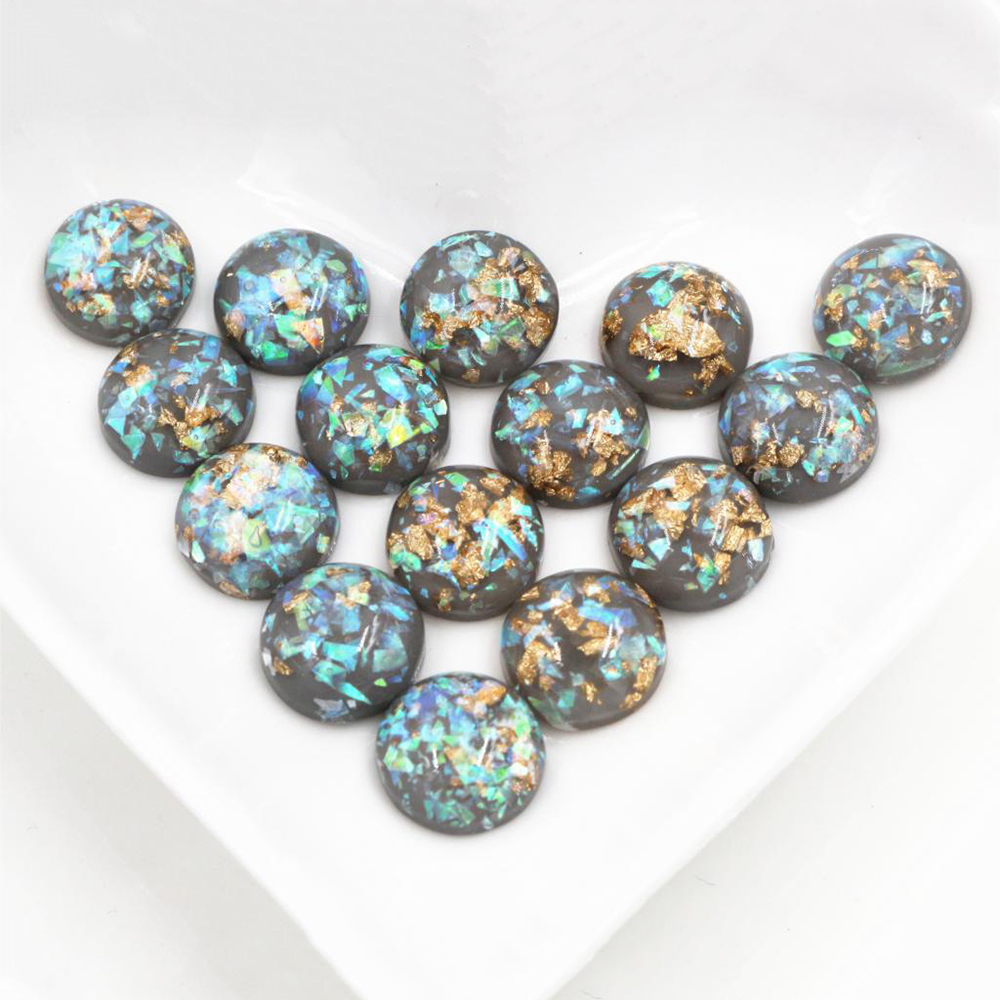 New Fashion 40pcs 12mm Gray Colors Built-in Metal Foil Flat Back Resin Cabochons Cameo-Z6-13