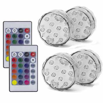 10LED RGB LED Underwater Light Pond Submersible IP67 Waterproof Swimming Pool Light Battery Operated For Wedding Party - 2 Remote 4 Light