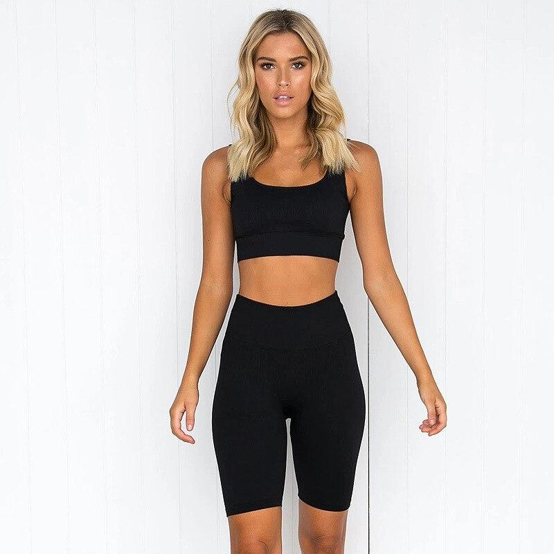 2pcs/set Yoga Sets Women Seamless Shorts High Waisted Sports Pants Outdoor Biker Leggings Women Sports Gym Set