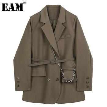 [EAM]  Women Brown Pocket Big Size Blazer New Lapel Long Sleeve Loose Fit  Jacket Fashion Tide Spring Autumn 2020 1DB850