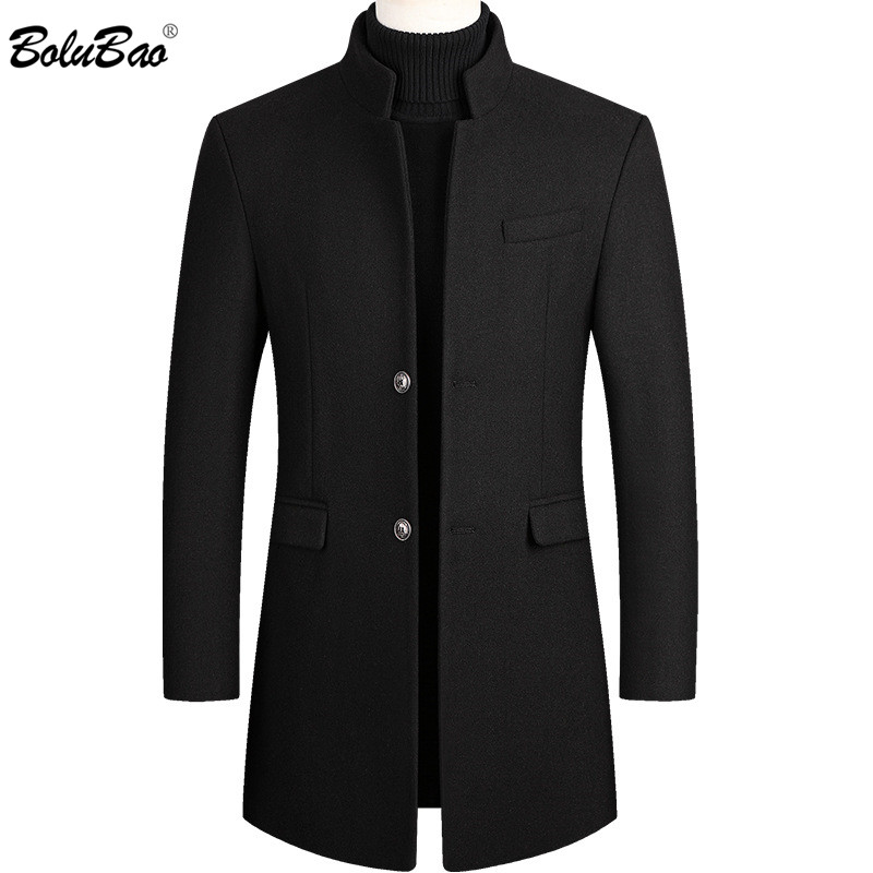 BOLUBAO Men Winter Wool Blends Coat Men's New Fashion Solid Color Simple Coat Male Comfortable Wool Blend Overcoat