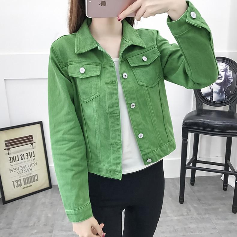 Basic Jeans Jacket Women Green 2019 Autumn Woman Denim Jean Womens Coats Jackets Female Slim Stretch Short Coat Feminina Clothes (9)