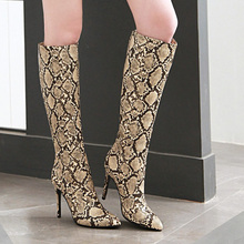 AIWEIYi Snake Print Winter Boots for Women Stiletto Heel High Heels Thigh Knee Fashion