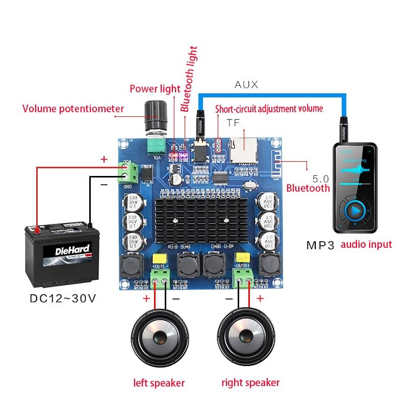 KYYSLB DC12~30V 100W*2.0 TDA7498 5.0 Bluetooth Amplifier Board XH-A105 Digital Amplifier Board Support AUX Onboard Potentiometer