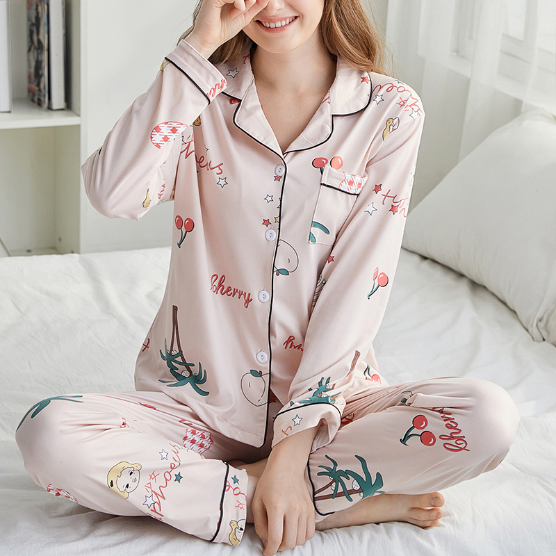 FallSweet Pajamas For Women Pink Print Cute Sleepwear Turn-down Collar Ladies Pyjamas Set