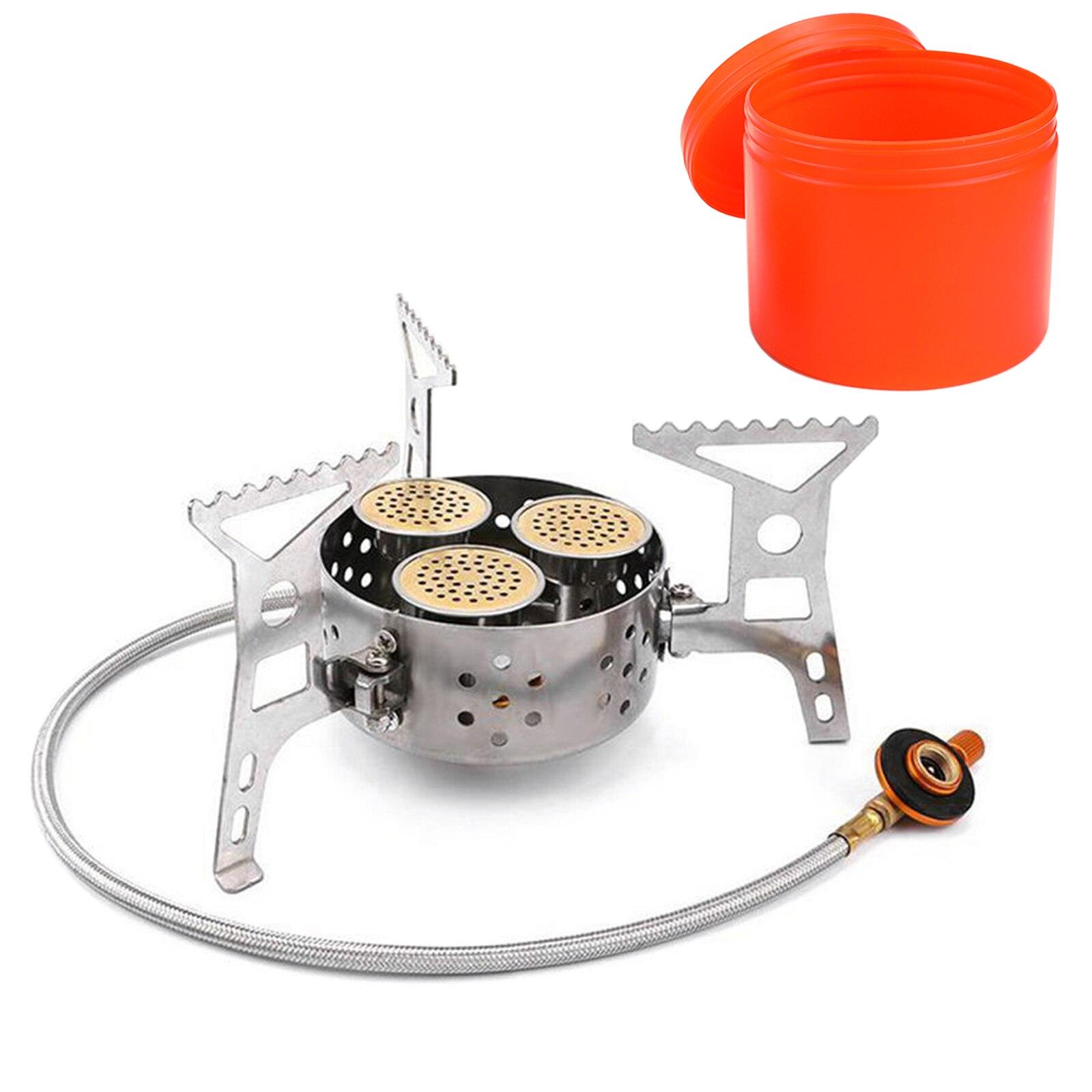 Туристическая горелка, портативная газовая горелка с тремя насадками и стальным плетеным шлангом, 9000 Вт