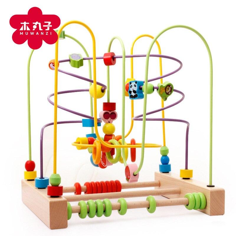 MWZ en bois enfants Bracelet perlé grande taille blocs de construction Animal Fruit perle-cordage jouet éducatif main-oeil coordination