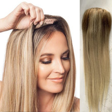 Women Lace PU Mono Toupee Hairpiece Wig Volume Hair Extension Straight Human Remy Wigs Natural Ombre Blonde Double Knot Durable