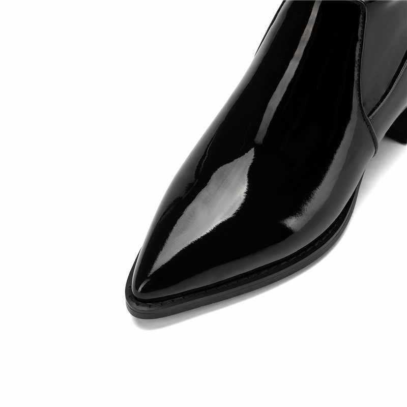 MoonMeek 2020 yeni diz üzerinde çizmeler sivri burun inek rugan çizmeler zip med topuklu klasik sonbahar kış çizmeler kadın