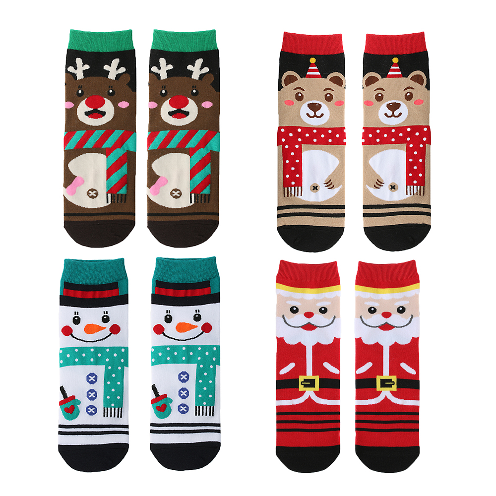 H60416250d14245079d361fc635091cf0c - 1pair Fashion Christmas Socks Women Cartoon Funny Cute Winter Female & Hosiery Cotton Square Foot Personality Socks Harajuku