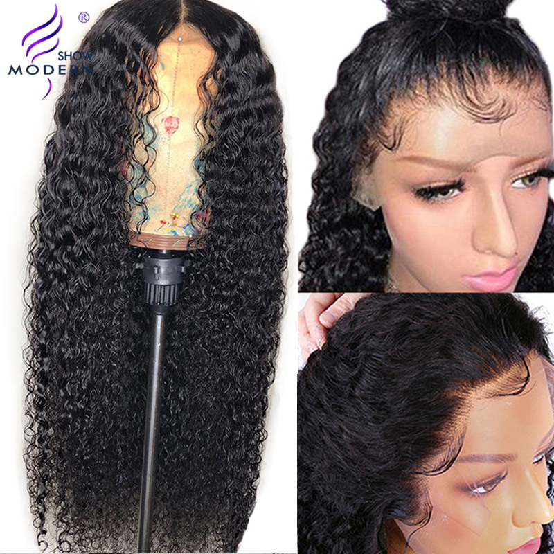 Modern Show 13*4 Brazilian Curly Lace Front Human Hair Wigs Pre Plucked Glueless 150% Density Lace Wigs For Black Women Remy