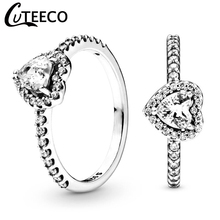CUTEECO 2019 New Luxurious Love Heart Zircon Wedding Rings for Women Engagement Ring Jewelry Valentine's Day Gifts Anillos Mujer cuteeco hight quality silver pan ring love heart ring original wedding jewelry gift for lover engagement accessories