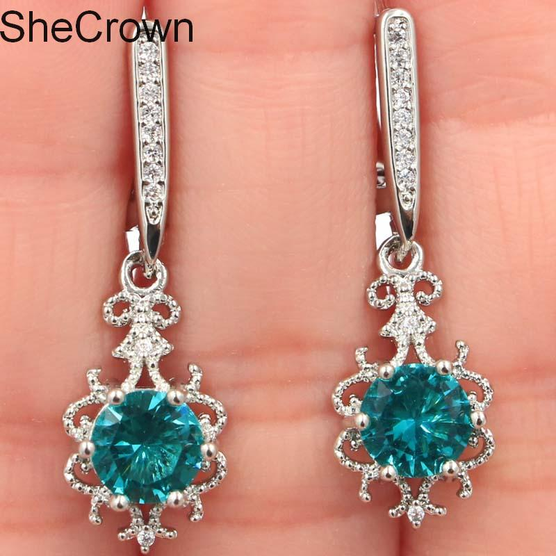 Beautiful Rich Blue Aquamarine White CZ Gift For Girls Silver Earrings 33x10mm